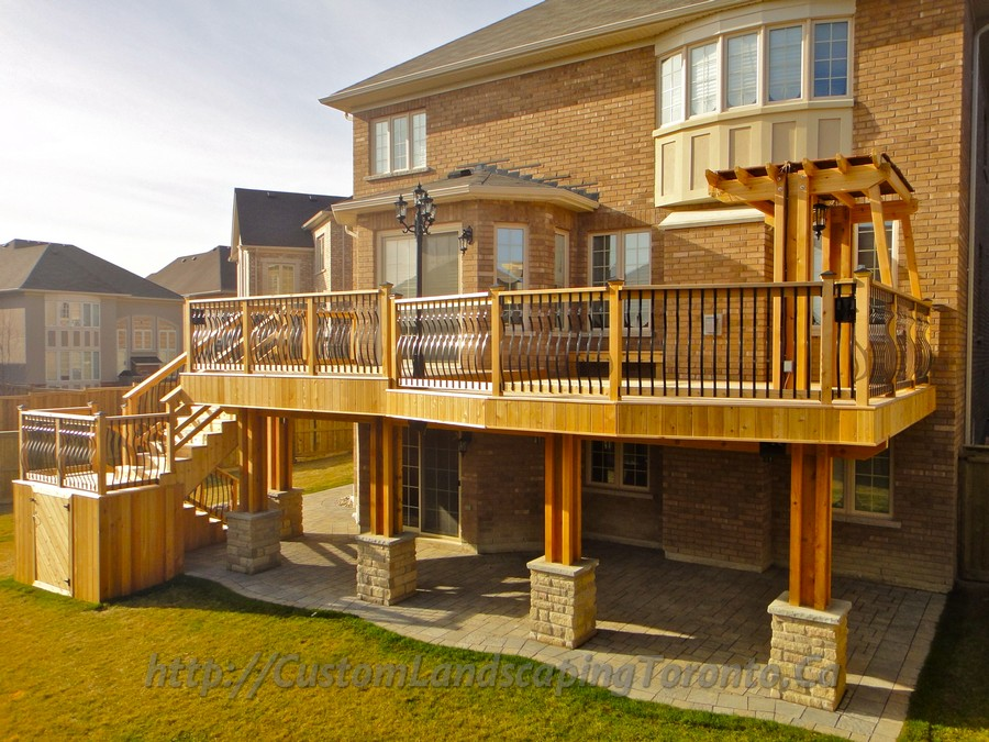 Custom Landscaping Toronto 2 level cedar deck with interlock09 Project Galleries