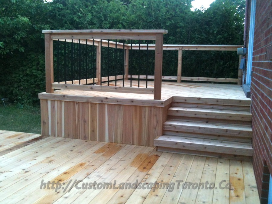 Custom Landscaping Toronto 2 level cedar deck03 Project Galleries