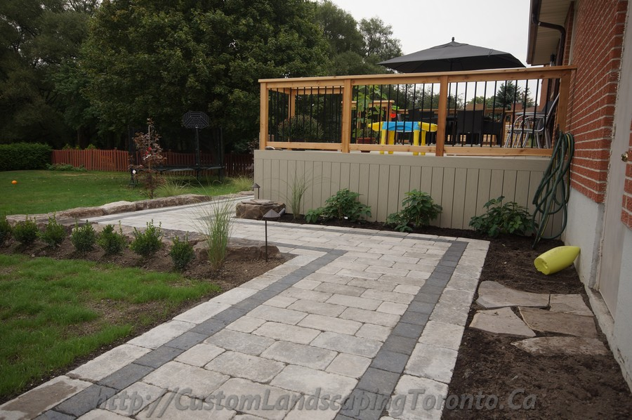 Interlock Pathway With Pvc Deck Toronto Landscaping