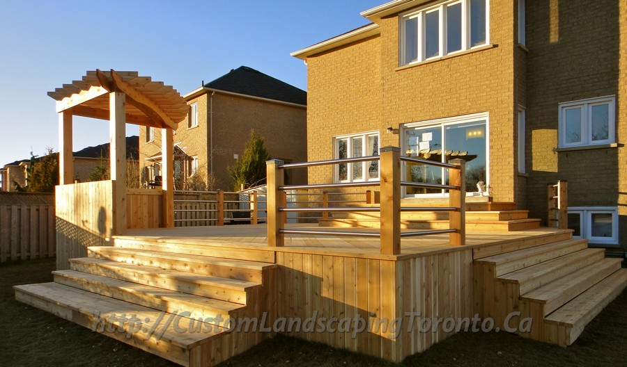 Custom Landscaping Toronto cedar deck pergola and railings01 Project Galleries