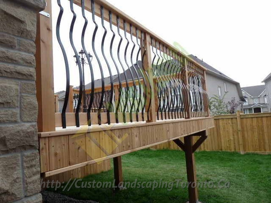 Custom Landscaping Toronto cedar deck wrought iron railings05 Project Galleries