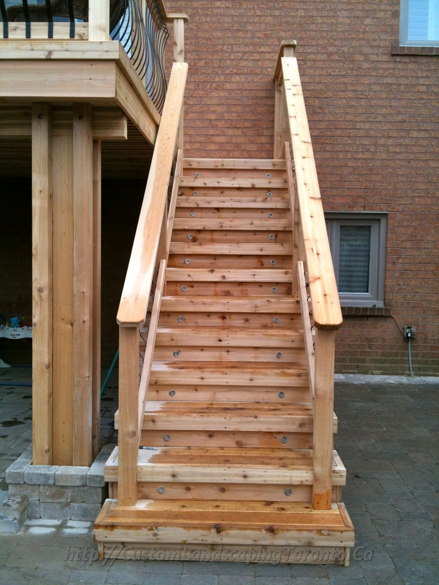 Build Wood Deck Stairs And Landing: M.E Landscaping Provides Toronto With Landscaping