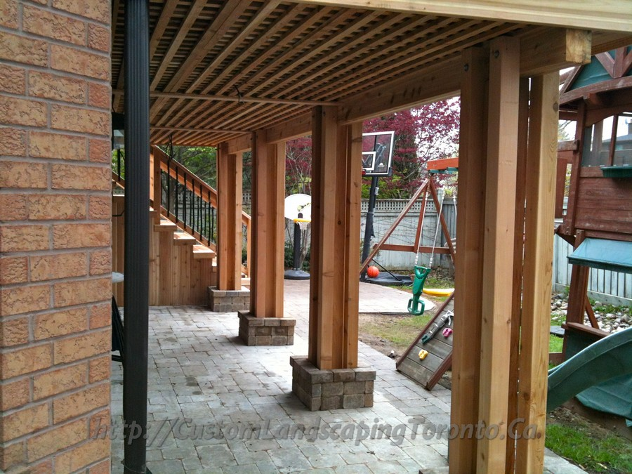 M e landscaping project galleries of interlocking for Walkout basement patio ideas