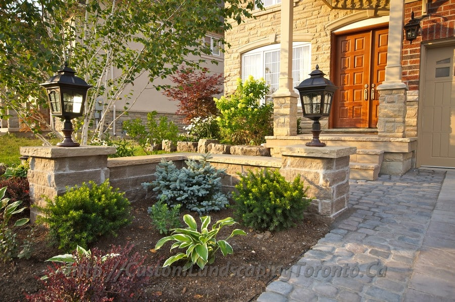 Interlock driveway and landscaping design project for Custom landscape design