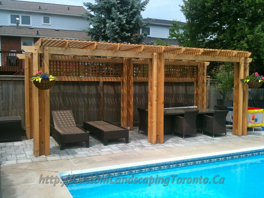 Custom Landscaping Toronto interlock pool deck and pergola04 Project Galleries