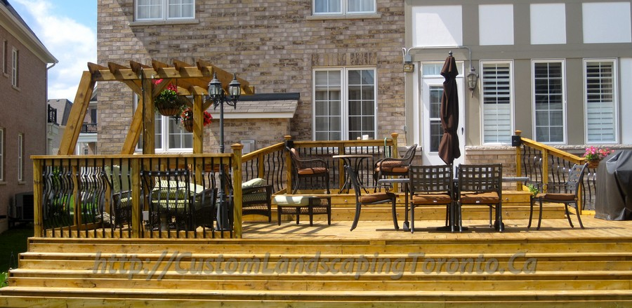 Custom Landscaping Toronto patio cedar deck with pergola06 Project Galleries