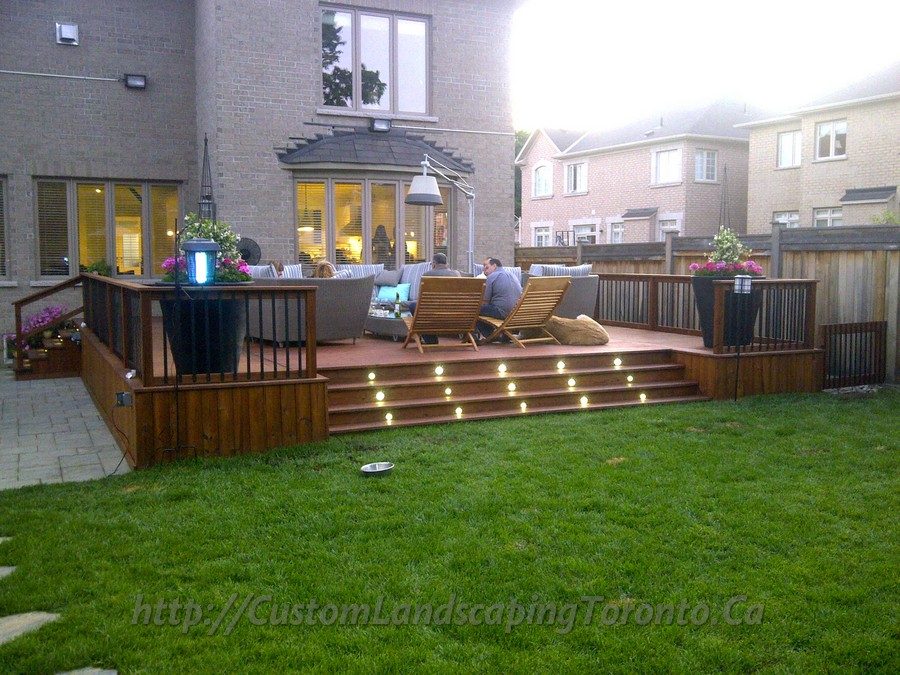 2 decks with interlock and landscaping design toronto for Custom landscape design
