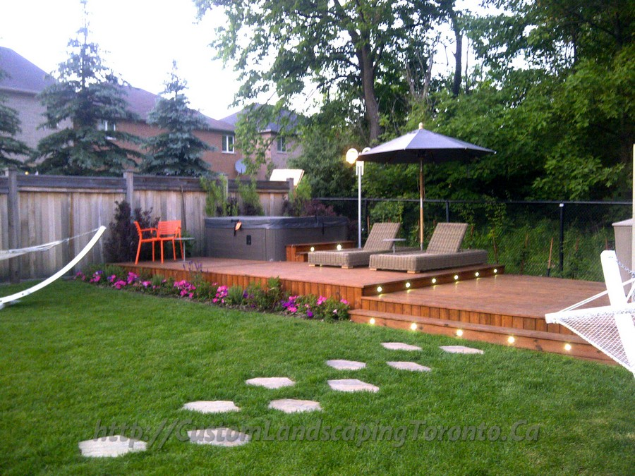 2 decks with interlock and landscaping design toronto for Custom landscaping