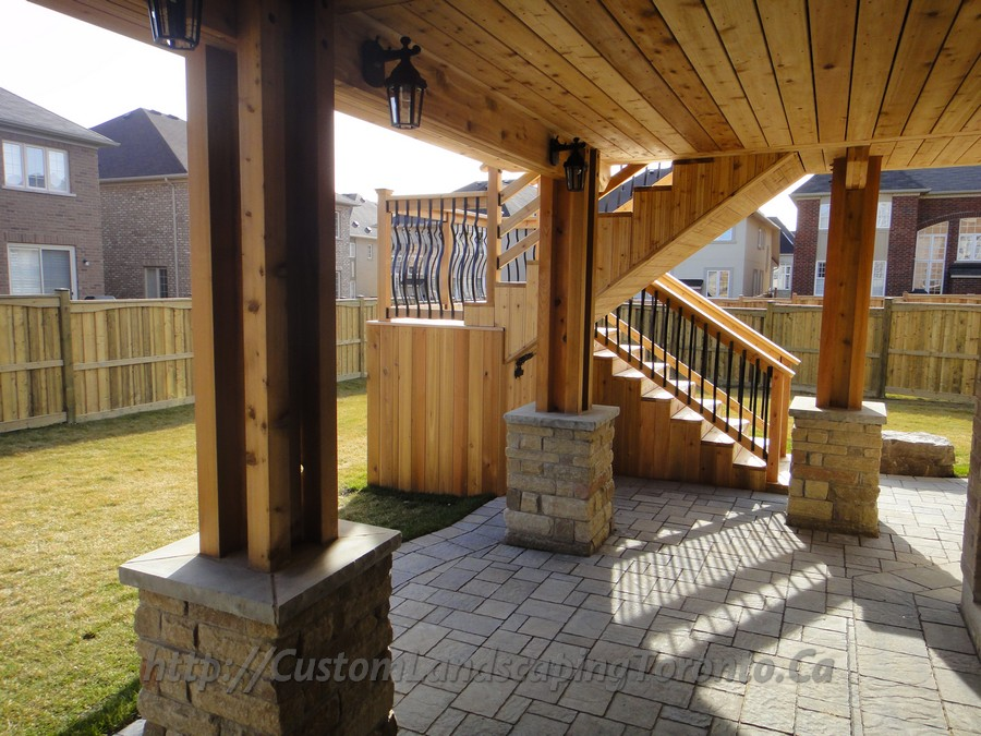 Complete Landscaping Project With Large Deck And Pergola